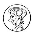 profile young man in lap sketch vector image