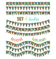 Set of bright festive bunting and garlands vector image