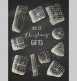 set of chalk gifts on blackboard background vector image vector image