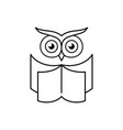 smart owl with open book education logo reading vector image