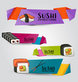sushi bar and asian restaurant horizontal banner vector image