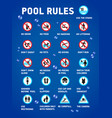 swimming pool rules set of icons and symbol for vector image