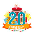 template 20 years anniversary congratulations vector image
