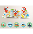 Travel Map with GPS Pin Mark and Transportation Fl vector image
