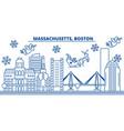 usa massachusetts boston winter city skyline vector image vector image