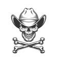 vintage monochrome cowboy skull and crossbones vector image vector image