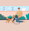 walking with dog concept vector image