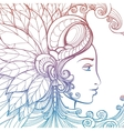 Zentangle woman face colorful tatoo tempate vector image