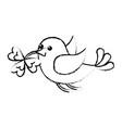 bird flying with clover in beak vector image
