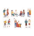 collection of happy elderly people performing vector image