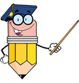 Pencil Teacher With Graduate Hat Holding A Pointer vector image