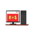 dollar is bitcoin computer with money symbols vector image