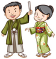A coloured sketch of a couple wearing an Asian vector image vector image