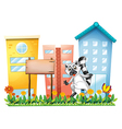 A lemur beside an empty signage at the garden vector image vector image