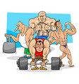 athletes at the gym cartoon vector image vector image
