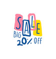 big sale 20 percent off logo template special vector image vector image