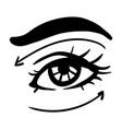 black line simple woman eye vector image