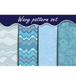 Blue waves seamless pattern set vector image
