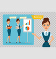 business characters girl is standing with folder vector image vector image
