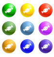 candy bonbon icons set vector image vector image