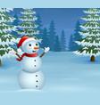 cartoon christmas snowman with snowy pine trees vector image vector image