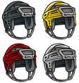 cartoon ice hockey sport helmet icon set vector image vector image