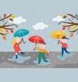 cheerful children playing under umbrella in rainy vector image vector image