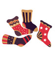 christmas stockings and felt fireplace accessories vector image