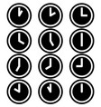 Clocks hours symbols icons simple white black set