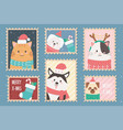 collection celebration happy christmas stamps vector image vector image