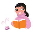 Cute woman reading book
