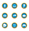 cyberspace icons set flat style