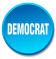 democrat blue round flat isolated push button vector image vector image