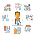 doctor avatar and medical icons vector image