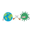 earth uses swords to fight coronavirus the vector image vector image