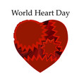 emblem of world heart day with image of red heart vector image vector image