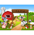 Farm background with animals vector image