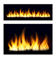 fiery flames on a dark background fire bonfire vector image vector image