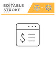 financial application editable stroke line icon vector image vector image