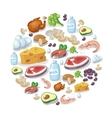 Flat icons of meat and dairy products vector image vector image