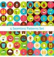 Four Flat Spring Garden Seamless Patterns Set with vector image