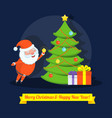 funny happy santa claus character decorates a vector image vector image