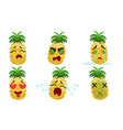 funny pineapple cartoon character with various vector image vector image