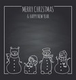 funny snowmen on a black board vector image vector image