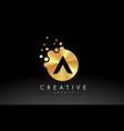 gold metal letter a logo a letter design vector image