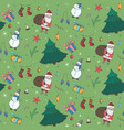 green christmas pattern with color doodle elements vector image