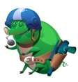 Green pig mutant pilot with a toy gun vector image vector image