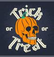 halloween pumpkin skull vector image