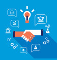 handshake and icons for web successful business vector image