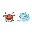 happy cool cartoon fat monster monster vector image